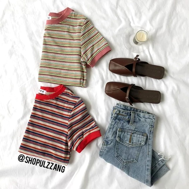 9a98179ce317d Striped Ringer Tee Shirt Top T Stripes Ulzzang Basic Ulzzang AA ...