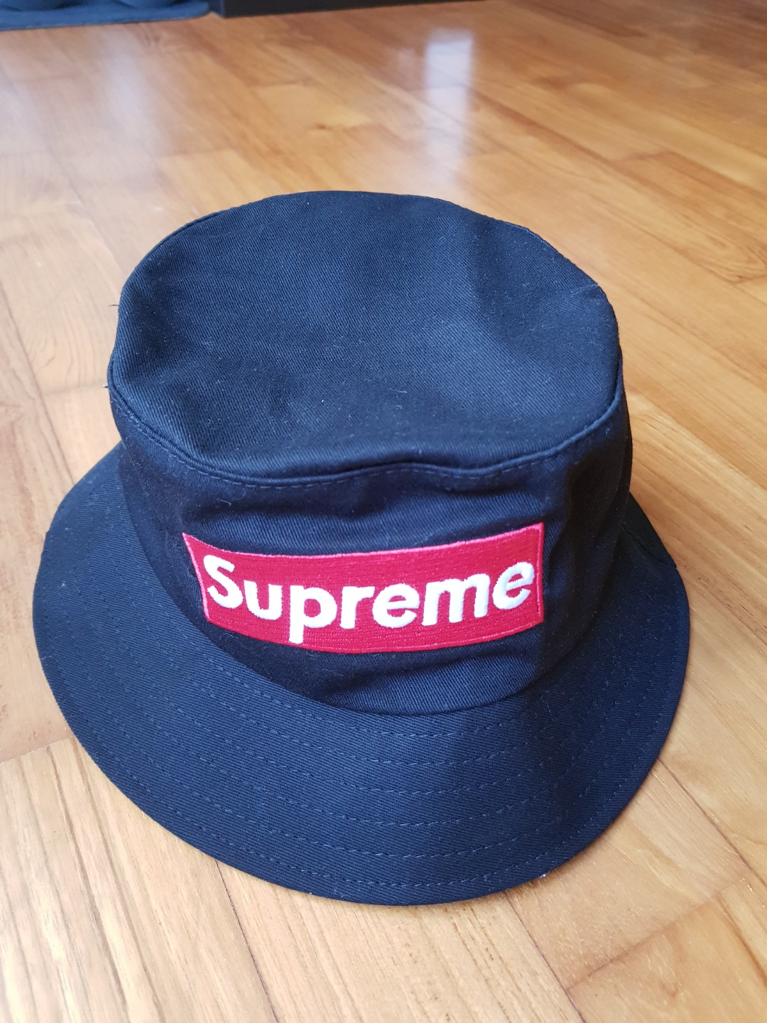 257349b34a1 SUPREME Embroidered Bucket hat Cap Black