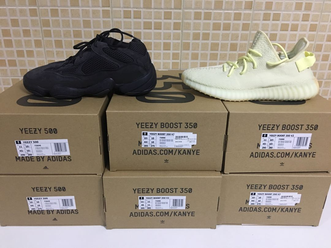 00a0873f1 Yeezy boost 350 v2 butter and yeezy boost 500 utility black