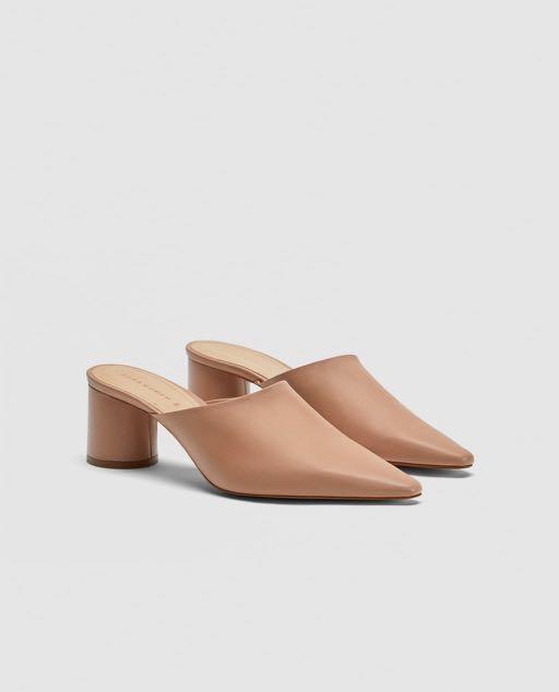 da52eb9c1faa Zara Nude Leather Mules (Authentic)