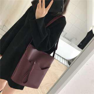 Ulzzang Collection Bucket V3 in Wine Red