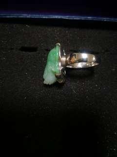 三腳蟾蜍玉器純銀戒指