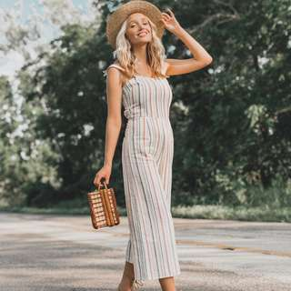 Linen Striped Jumpsuit - Third Form - Size Small