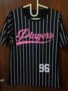 💜 Players Black White Stripes Baseball Tee