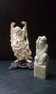 Sales: Marble Ink Chop carving with God of Longevity