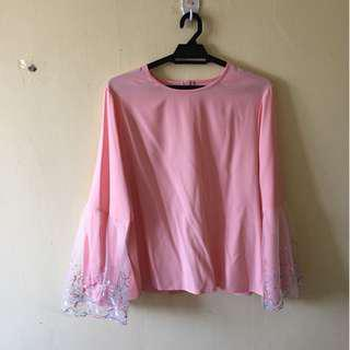 Baby Pink Blouse with Pretty Sleeves