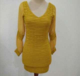 Dress bodycon kuning