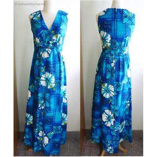 Vintage 1960s Hawaii Blue Flower Maxi Dress, US Size XS / S / 4 / 6