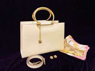 Rare!! Museum ITEM! Vintage CELINE GOLD RING HANDLE BAG