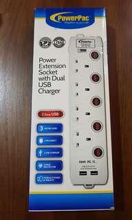BNIB - PowerPac 4 Socket with 2 USB extension cord