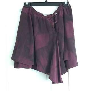 Burgundy Tie Dye Wrap Skirt