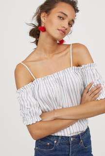 H&M Striped Off Shoulder Top