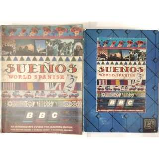 INTERMEDIATE SPANISH BY BBC BUENOS (ONE FULLY COLOURED BOOK & 4 CASSETTES)