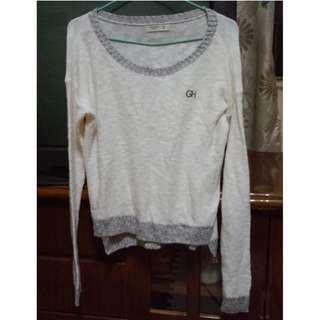 美國 GILLY HICKS 灰色鑲邊白色長袖針織衫/毛衣