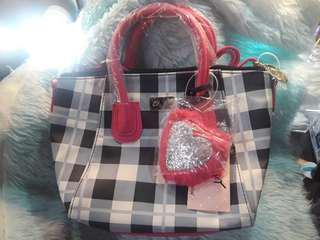 BN Auth Betsey Johnson Plaid Sling Bag 11x4x8 #lfsale
