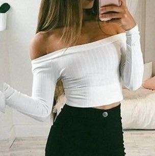 Zara Ribbed White Off shoulder long sleeves top