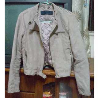 西班牙 ZARA BASIC 玫瑰裸粉色帥氣麂皮機車外套/夾克