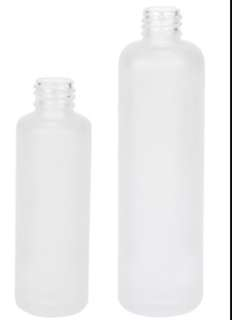 Frosted glass bottles - 50ml + 100ml - brand new