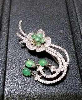 天然緬甸翡翠綠A     胸針     特價