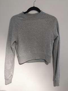 Grey Cropped Crewneck Sweater