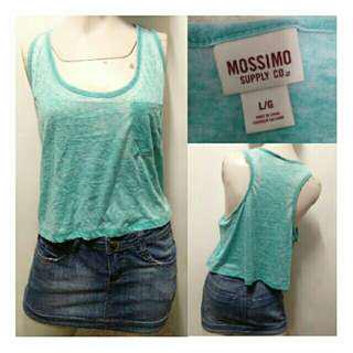 SALE preloved sky blue mossimo cropped cotton loose tank top
