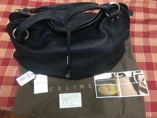 "Celine Bittersweet 絶版 Large Black Pebbled Leather Hobo Bag -approx. 13""H (excluding handles) x 19""W x 10""D -Including dust bag, tags & card -used 2-3 times only"