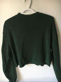 Green Cropped Sweatshirt