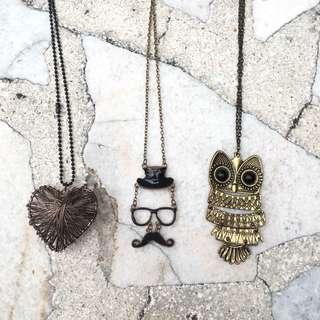 Owl Necklace/ Heart Necklace / Moustache Necklace