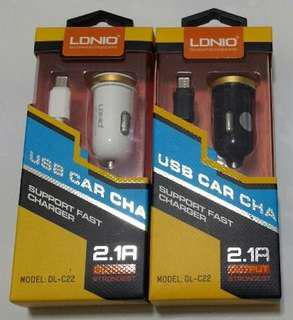 LDNIO USB Car Charger (Dual USB With Cable)