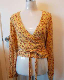 Beautiful yellow wrap tie top
