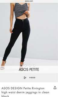 ASOS Petite high waist black jeggings