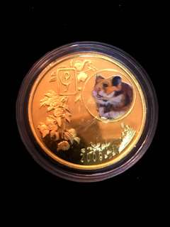 2009 North Korea 20 Won The Chinese Almanac Year of the Rat Coloured Brass Coin Proof Struck. Uncirculated Mint Condition. Very Scarce mintages.