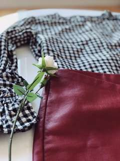 Zara gingham top XS with bell sleeves