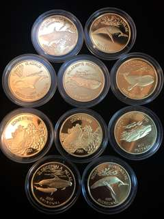 2001 North Korea 20 Won The Whales Complete Edition Set of x10 Brass Coins Proof Struck. Uncirculated Mint Condition. Very Rare Mintages.
