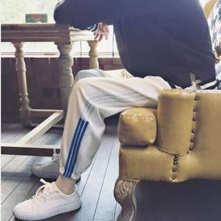 Striped blue trackies
