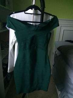 Forest green off the shoulder bandage dress