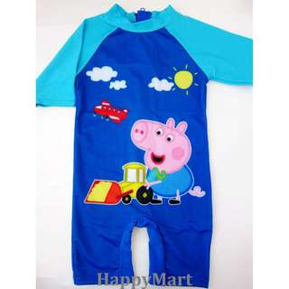 New Peppa Pig One Piece Sun Protect Swimsuit UV 全新佩佩豬防曬泳衣 2-8T