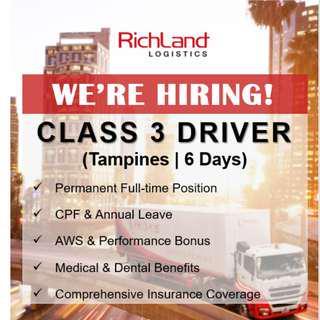 Class 3 Driver (6 Days | Tampines | AWS Bonus)