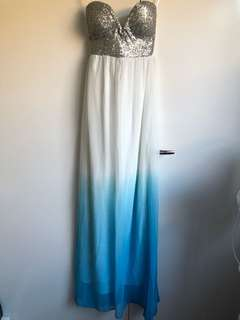 Sequin blue and white dip dye cocktail/maxi dress