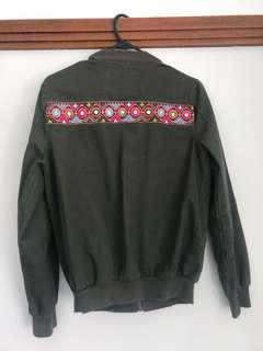 Khaki Bomber Jacket with Embroidery