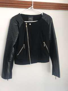 Assymtrical Faux Leather Panelled Jacket