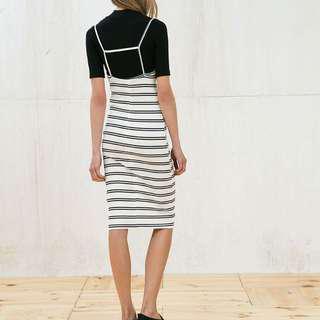 Strappy halter neck ribbed dress - stripes
