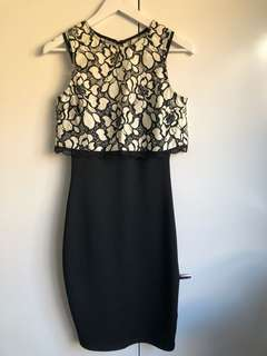 Lipsy never worn black and cream lace cocktail dress