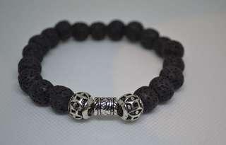 Men Lava Stone and Tibetan silver Bracelet , free Postage