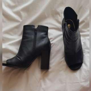 Peeptoe Black Boots