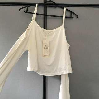 SALES BNWT White Cold Shoulder Cropped Top