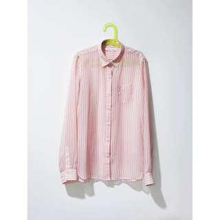 Lowrys Farm 粉橘透膚條紋襯衫