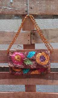 Colourful fabric floral bag with beaded strap