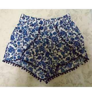 荷蘭 H&M 藍色摩洛哥花紋球球鑲邊短褲
