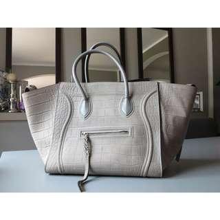 Celine Phantom Luggage Grey Croc Embossed Calfskin Leather Tote